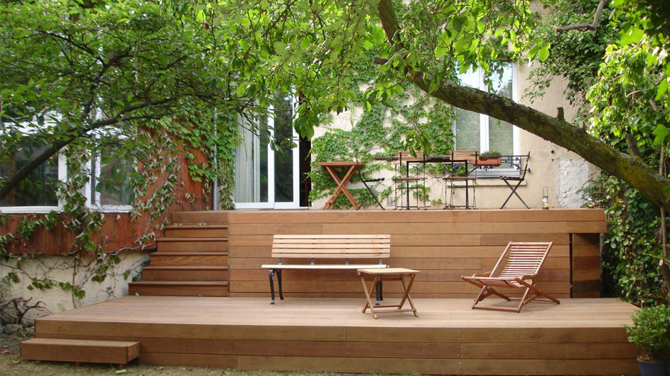 Aménagement d'une terrasse en bois à étage